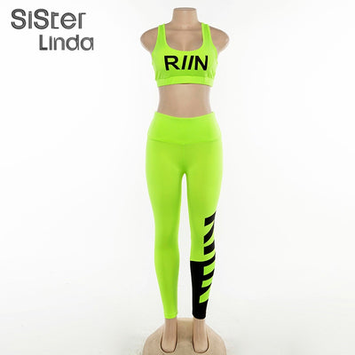 Sisterlinda Women Fitness Tracksuit Two Pieces Set Neon Sportswear Tank Top Bra Skinny High Waist Leggings Outfit Tracksuit Muje