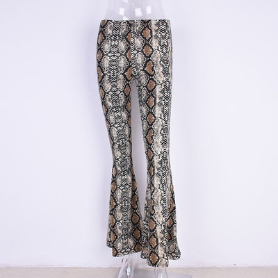 Women Snake Print Flare Pants Wide Leg Festival Stretch Culottes Trousers Boot Cut Female Bell Bottom Skinny Leggings Palazzo