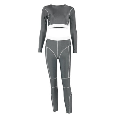 NORMOV Fashion Fitness Suit Women Patchwork Long Sleeve O-Neck Short Tops Two-Piece Set Female Gray Skinny Elastic Leggings Set