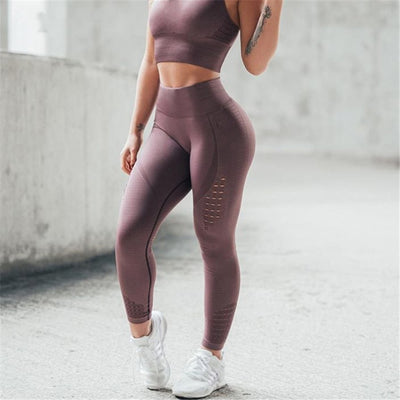 NORMOV Solid Women Leggings Workout High Waist Elastic Push Up Hollow Out Ankle Length Polyester Leggin Casual Femme Leggings