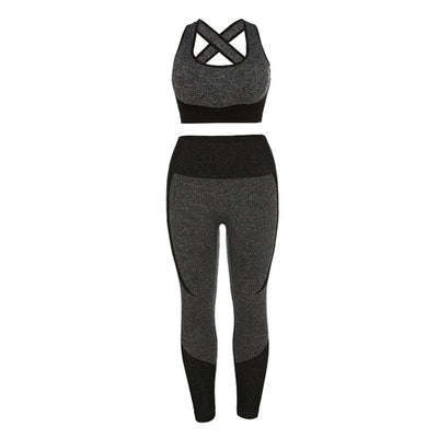 NORMOV Women Sleeveless Fitness Two-Piece Set Backless Seamless Skinny Elastic Suit Female High Waist Leggings And Bra Set