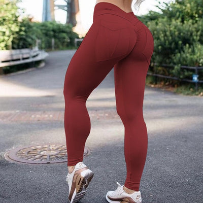NORMOV Workout Women Leggings High Waist Elastic Push Up With Pocket Ankle Length Polyester Legging Casual Yellow Leggings