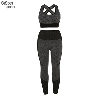 Sisterlinda Women 2 Pieces Sets Fitness Tracksuit Vintage Elastic Tank Top Women 2019 New High Waist Leggings Casual Sportwear