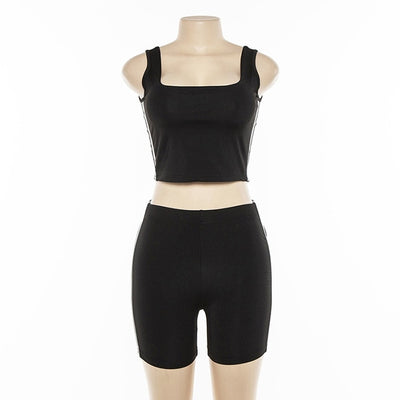 Toplook Reflective Women Two Pieces Set Striped Patchwork Sexy Crop Top Elastic Shorts Tracksuit Outfits Legging 2019 Summer
