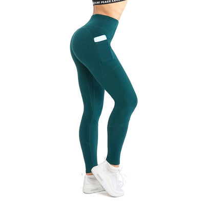 NORMOV Women Solid Color Patchwork Leggings Fashion High Waist Phone Pocket Slim Elastic Workout Fitness Casual Long Legging