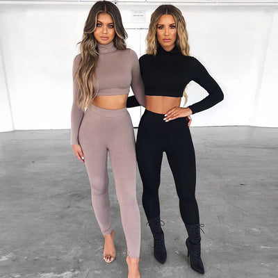 WannaThis Solid 2 Pieces Set Women Turtleneck Crop Top and Leggings Long Sleeve Fall Fashion Simplicity Black Elastic Skinny Set