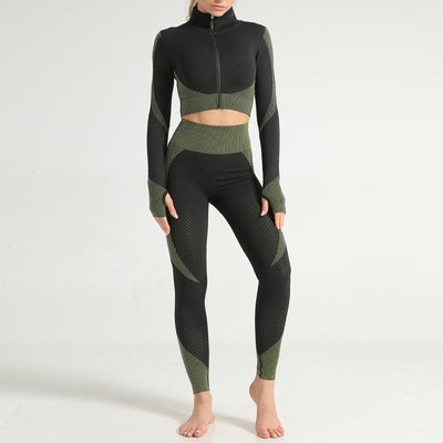 NORMOV Seamless Workout Fitness Set Women Long Sleeve Patchwork Top High Waist Gym Leggings Breathable Suit Quick-drying