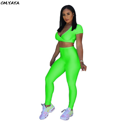 2019 women summer short sleeve v-neck crop top high waist leggings suit two piece set sporting tracksuit 3 color outfit GLK9382
