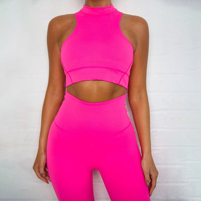 WannaThis Solid Neon Color 2 Pieces Set women Crop Top and Leggings Fitness Skinny High waist Outfit Sportswear Summer New