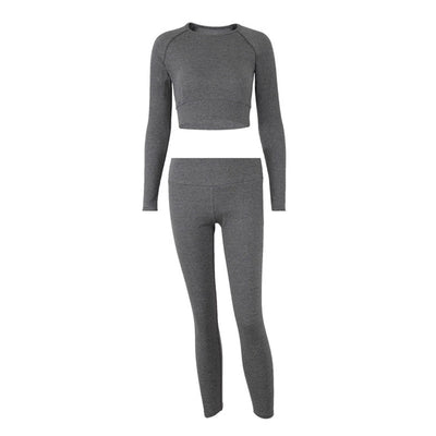 NORMOV Long Sleeve Fitness Two-Piece Set Women Solid O-Neck Slim Top Elastic Set Female High Waist Workout Knit Leggings Suit