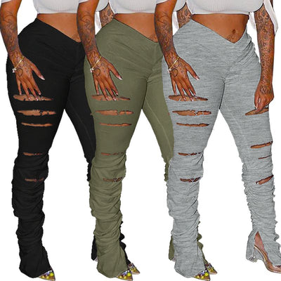 ZKYZWX Sexy Hole Stacked Leggings Sweatpants Women Elastic Joggers High Waist Bell Bottom Trouser Split Hem Flare Ruched Pants