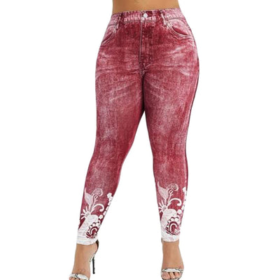 Women Gym Leggings Faux Denim Jeans Leggings Pocket Printing Leggings Casual High Waist Pencil Pants Plus size Pants