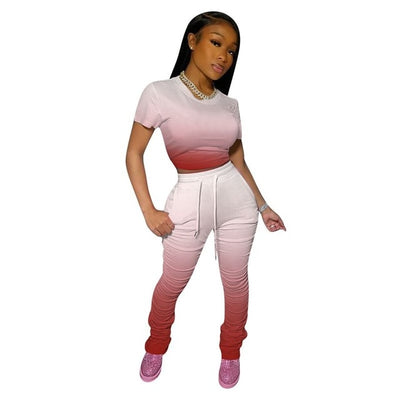 2020 Women's Two Piece Set Plus Size Stacked Trousers Leggings Pants Tracksuit Crop Top Ruched Leggings Pant Outfits Sweat Suits