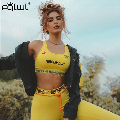 FQLWL Two 2 Piece Set Women Sweatsuits Sportswear Summer Outfits Ladies Tracksuit Women Crop Top Female Leggings Matching Sets