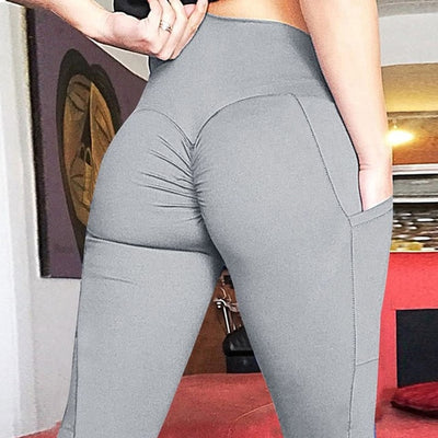 NORMOV 2019 New Womens Leggings High Waist Workout With Pockets Patchwork Slim Leggings Seamless Fitness Solid Leggings