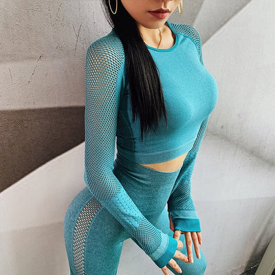 Women Yoga Set Yoga Crop Top Seamless Leggings Workout Yoga Pants Gym Set High Waist Legging Pants Sport Clothing Fitness Shirt