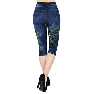 Women Plus Size Leggings Imitation Cropped Trousers 2019 New Mock Pocket Pants Slim Jeggings Denim Skinny