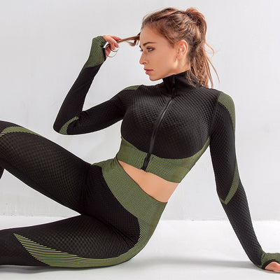 NORMOV Seamless Knit Fitness Two-Piece Set Women Long Sleeve Zipper Push Up Workout Suits Female Elastic High Waist Leggings Set