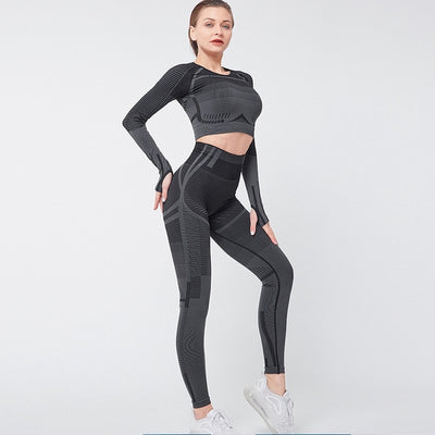 NORMOV New Seamless Knit Two-Piece Set Women Long Sleeve O-Neck Elastic Fitness Suit Slim High Waist Workout Leggings Set Female
