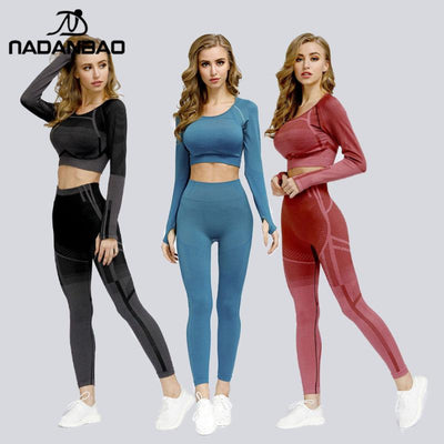 NADANBAO Fashion Seamless Women Suits Long Sleeve Tops With Leggings Sets Fitness Pants Running Sporting Wear PUSH UP Leggin