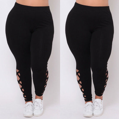 New  Women Plus Size L XL 2X 3X Black Criss-Cross Soft Comfort Skinny Leggings Pants Stylish Womens Elastic Pants Leggings
