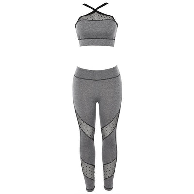 NORMOV Patchwork Fitness Two Piece Set Women Mesh Breathable Skinny Bra 2 Piece Set Female Slim High Waist Push Up Leggings Set