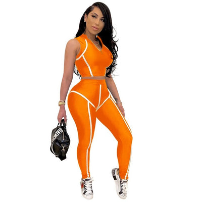Adogirl Fluorescent Stripe Patchwork Women Tracksuit Fitness Casual Two Piece Set Sleeveless Crop Top Tight Pants Leggings Suit