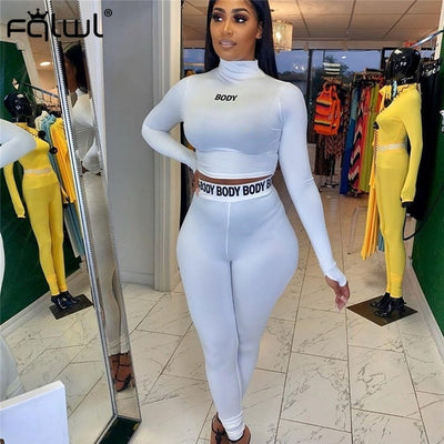 FQLWL White Black Fitness 2 Piece Set Women Suit Sportwear Summer Outfits Long Sleeve Crop Top Leggings Ladies Tracksuit Female