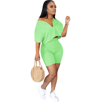 Casual Tracksuit 2 piece set  Crop Top + Pants  Short Sleeve Deep V-neck Summer Cloth For Women Outfits Solid 7 Color