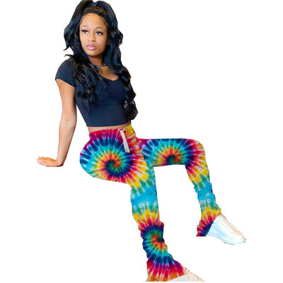 stacked leggings joggers stacked tye dye sweatpants women ruched pants flare bell bottom stacked pants sexy print pant trouses