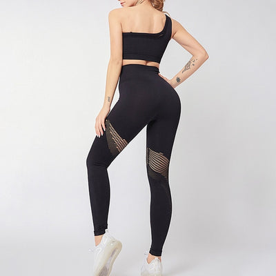 NORMOV New One Shoulder Two-Piece Set Women High Waist Hollow Mesh Leggings Fitness Set Female Gather Push Up Bra 2 Piece Set