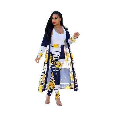 Summer 2 Piece Set Women Cardigan Long Trench Tops And Bodycon Pant Suit Casual Clothes Boho Sexy Two Piece Outfits 2019