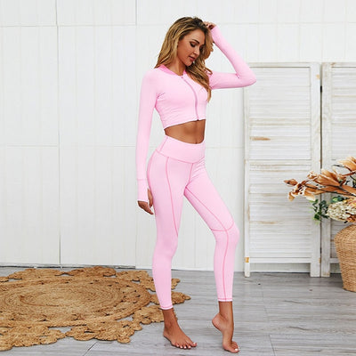 NORMOV Casual Women Sets Fitness O Neck Long Sleeve Tops Push Up Ankle Length Leggings Sets Soild Workout Zipper Women Sets