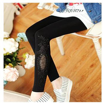 Shikoroleva Lady Girl Leggings 2020 Solid Color Modal Black Pink Red Lace Decoration Skinny Jeggings Pants 7xl 6xl 5xl xs Women