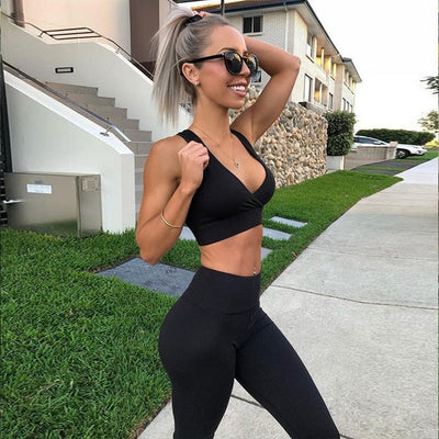 Women's Fitness Suits Sexy Deep V Neck Crop Tank Workout Red Top And Legging Pants 2 Pieces Set 2019 Fashion Ladies Tracksuit