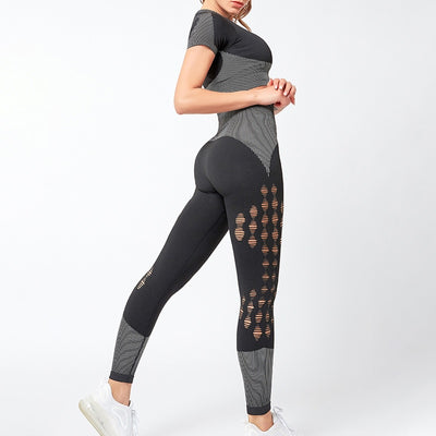 NORMOV New Hollow Two-Piece Set Women High Waist Elastic Fitness Leggings Set Female Short Sleeve Exposed Navel Tops 2 Piece Set