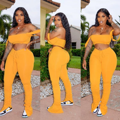 Tracksuit Two Piece Set Women New Summer Clothes Off Shoulder Crop Top Split Stacked Leggings Pant Casual Outfits Matching Sets