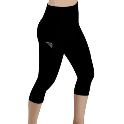 Leggings 3/4 Pants Female Capri Casual Pant Sporting Fitness High Waist Pants Side Pockets Design Sporting Leggings