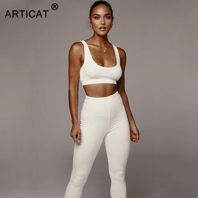 Articat Knitted Two Pieces Women Set Casual Fitness Female Tank Top Bars And Leggings Pants Suit Solid Stretch Tracksuit