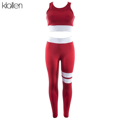 KLALIEN Sexy Hollow Push Up Sleeveless Bra Top + Female skinnly Workout Leggings 2020 New Women's Sporting Trousers 2 Piece Sets