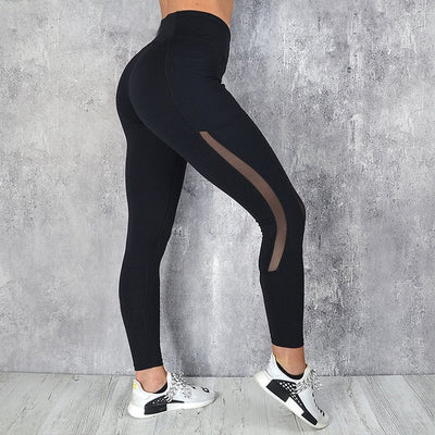 CHRLEISURE Pocket Leggings Women Mesh splicing Casual Pants Solid Breathable Women High Waist Push up Fitness Gym Leggings