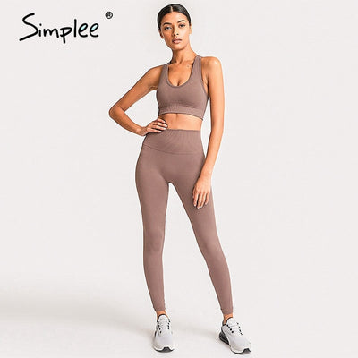 Simplee 2 Piece Set Workout Clothes for Women Sports Top and Leggings Set Sports Wear for Women Gym Clothing Athletic Yoga Set