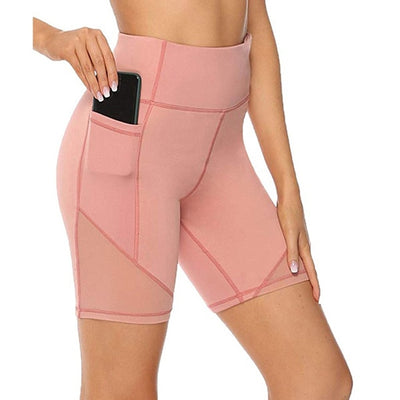 Women's High Waist Pocket Short Leggings Training Short Abdomen Control Breathable Training Running Ladies Solid Pants