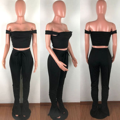 Spaghetti Strap Off Shoulder Tube Top and Skinny Pants Set Two Piece Matching Set Tracksuit Split Stacked Leggings Pant Suits