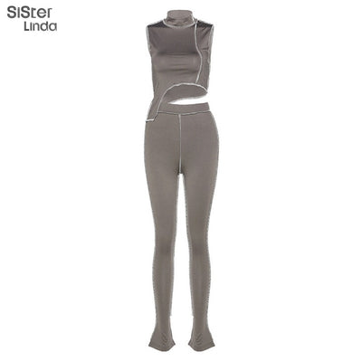 Sisterlinda Women Grey Black Active Wear Fitness Tracksuit Set Irregular Stripe Tops Skinny Sport Leggings Mujer Sportsuits 2020