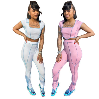 Summer Striped Knit Rib Tracksuit Women Sexy Lounge wear Short Sleeve Crop Top with Leggings Bodycon Two Piece Set Club Outfit