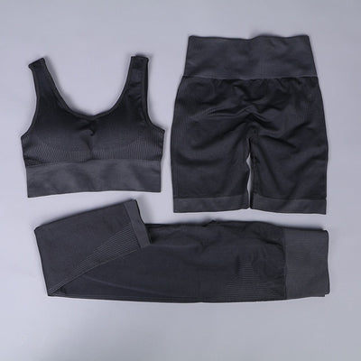 New Arrival Quality Fitness Crop Top Sport Bra Gym Leggings Shorts Tracksuit Woman 3 pieces Set Workout Seamless Clothes Fashion