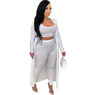 Casual 3 Piece Matching Set Women Festival Clothing Ribbed Slim Fit Top And Skinny Legging And Maxi Open Stitch Sexy Sweatsuits