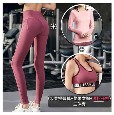 Elastic 3 Piece Set Workout Clothes Women Sported Top Leggings Set Sports Wear undershirt Gym Clothing Athletic Yoga Set