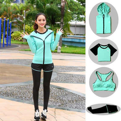 TITAME Women 4 Piece Seamless Sports Set Fitness Sports Suits GYM Cloth Long Sleeve Shirts High Waist Running Leggings Suits Set